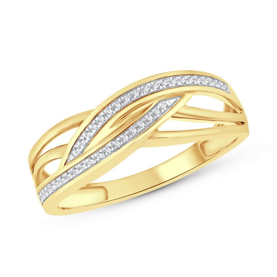 9ct Yellow Gold, 0.08ct Diamond Ring