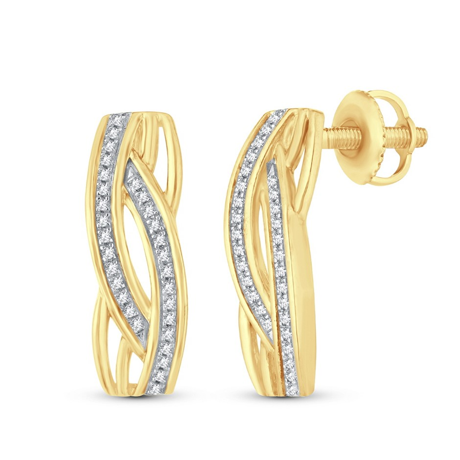 9ct Yellow Gold, 0.12ct Diamond Earring