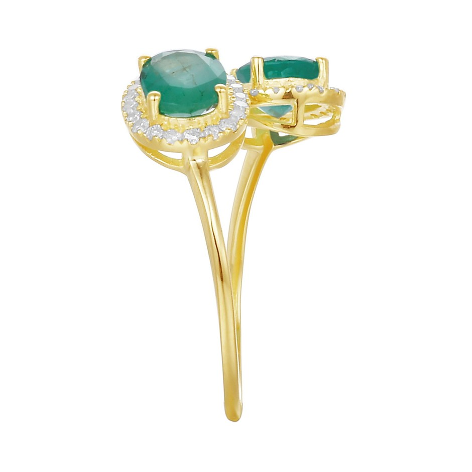 9ct Yellow Gold, 1.66ct Emerald and Diamond Ring