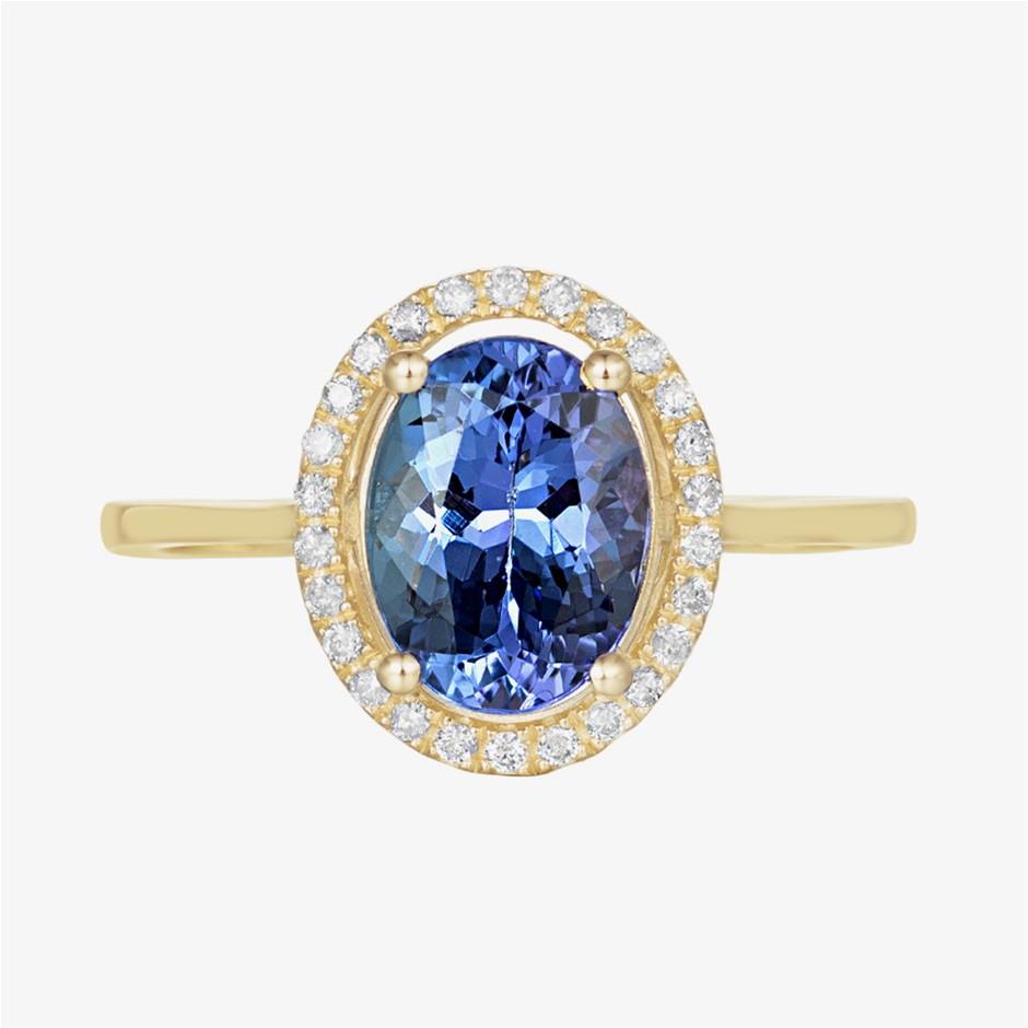 9ct Yellow Gold, 1.95ct Tanzanite and Diamond Ring