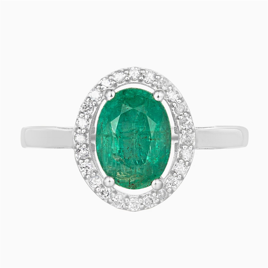 9ct White Gold, 1.96ct Emerald and Diamond Ring