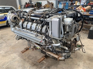 MTU 12 cylinder twin turbo diesel engine