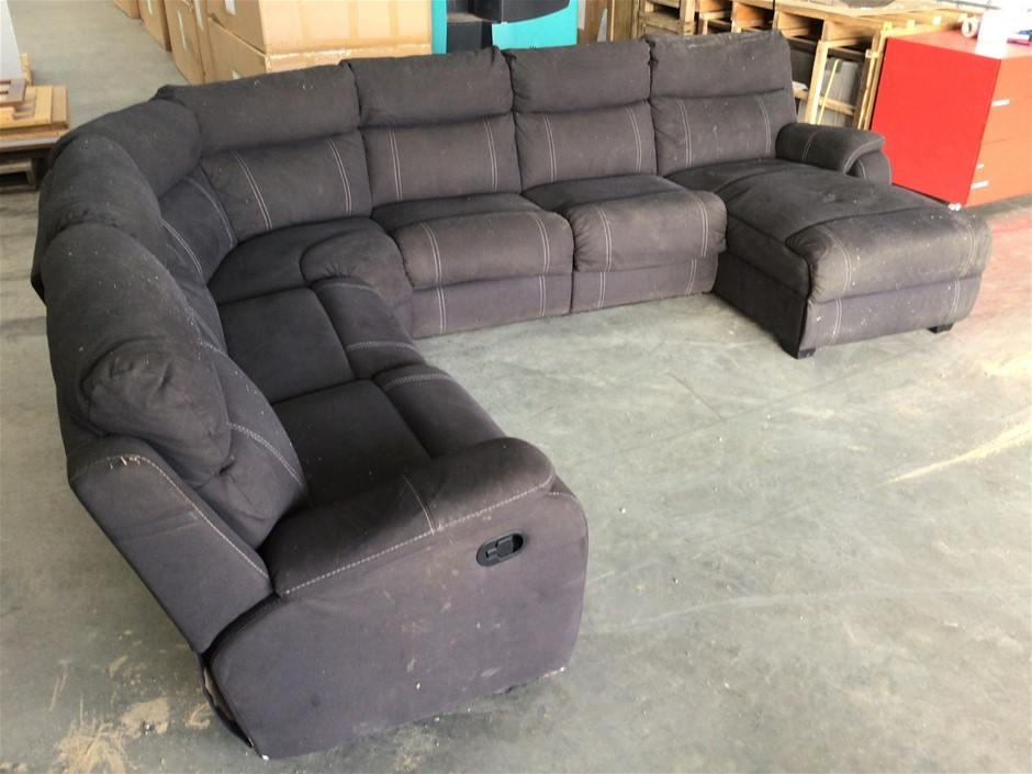Porter 6-Seater Modular Lounge with Sofa Bed - Onyx