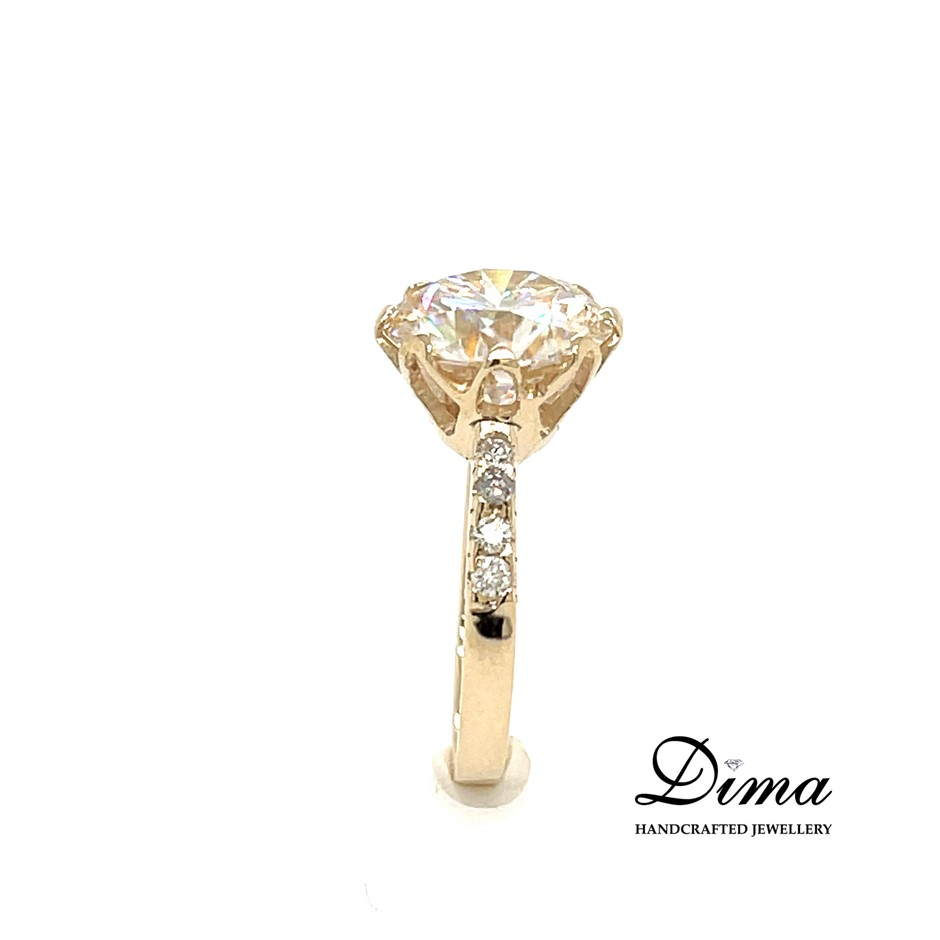 9ct Yellow Gold, 4.74ct Moissanite and Diamond Engagement Ring