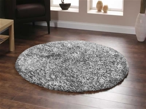 Plush Luxury Round Rug Black White Mix 120x120cm