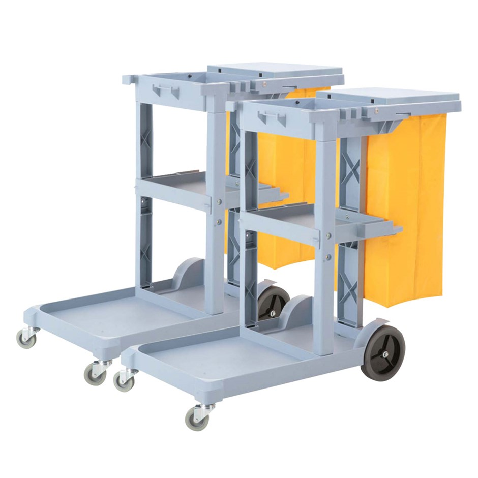 SOGA 2X 3 Tier Multifunction Cleaning Waste Cart Trolley and Waterproof Bag