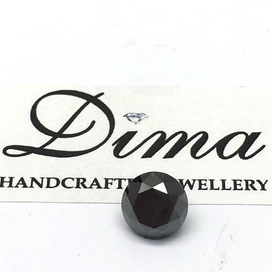 One Stone Black Diamond Round 0.90ct (6.1mm)