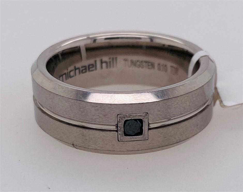 Michael Hill 0.10ct Black diamond rub over set tungsten ring