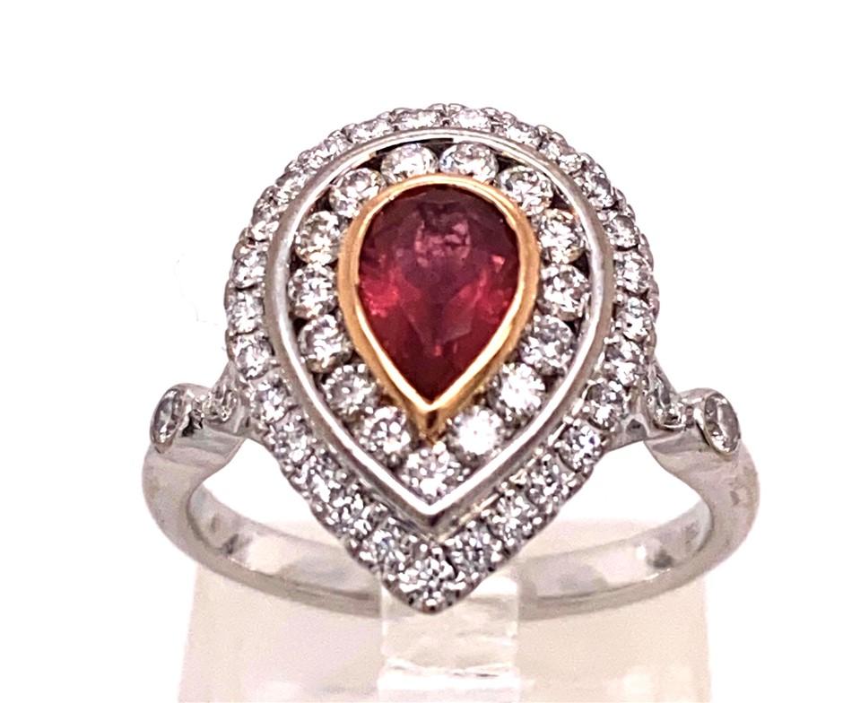 18ct White/Yellow gold pink tourmaline & diamond cluster ring