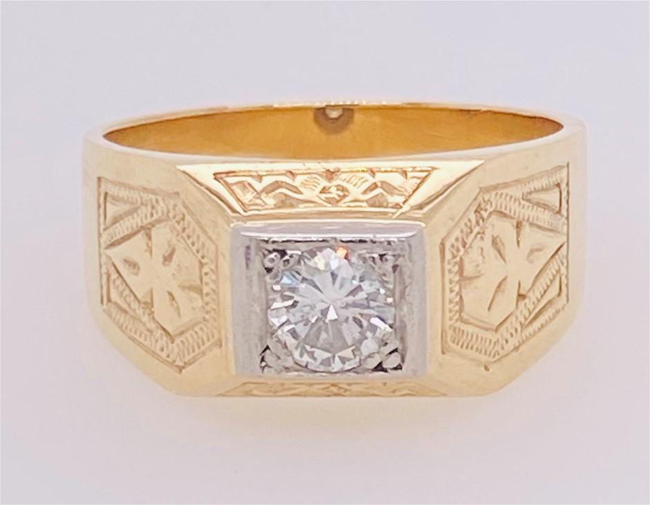 9ct Yellow/White gold diamond handmade ring