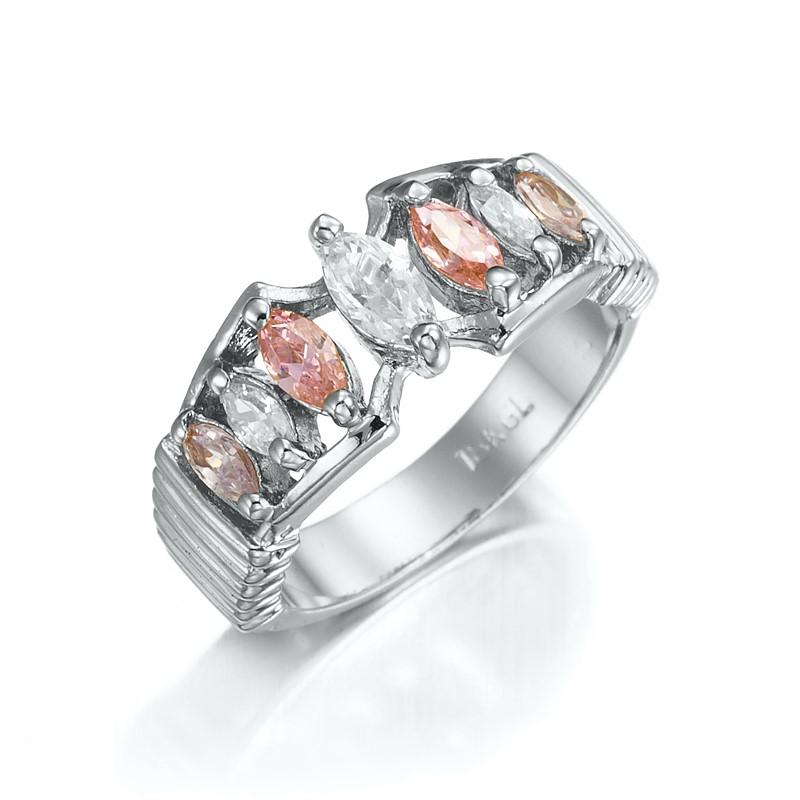 Stunning Rhodium Plated Pink & Simulated Diamond Pave Ring - US Size 7