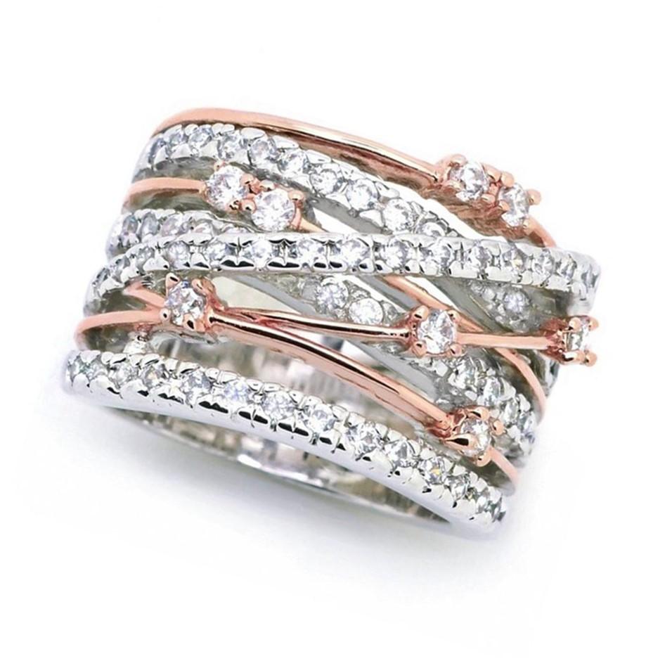 Designer Simulated Diamond Statement Ring - Rose & White - US Size 7