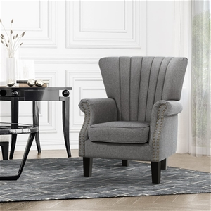 Upholstered Fabric Armchair Accent Tub C