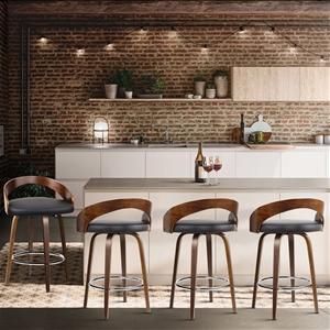Artiss 4x Wooden Bar Stools Swivel Bar S