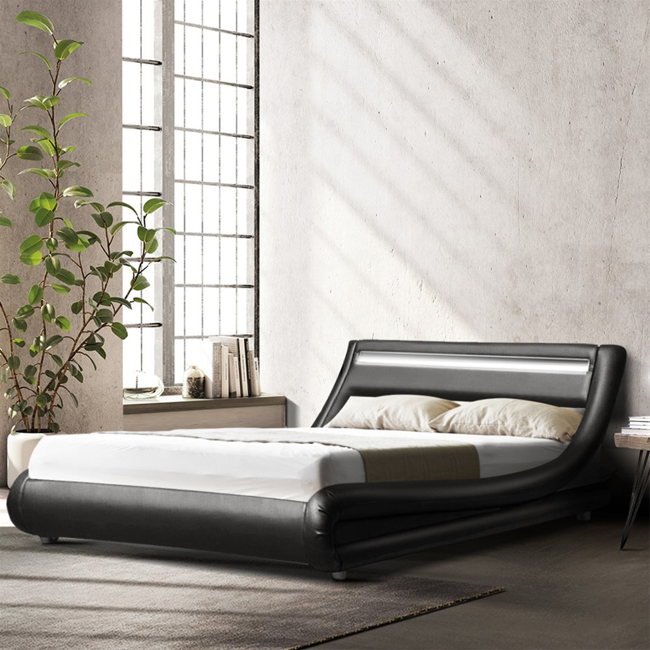 Artiss LED Bed Frame Double Size Base Mattress Platform Black Leather ALEX