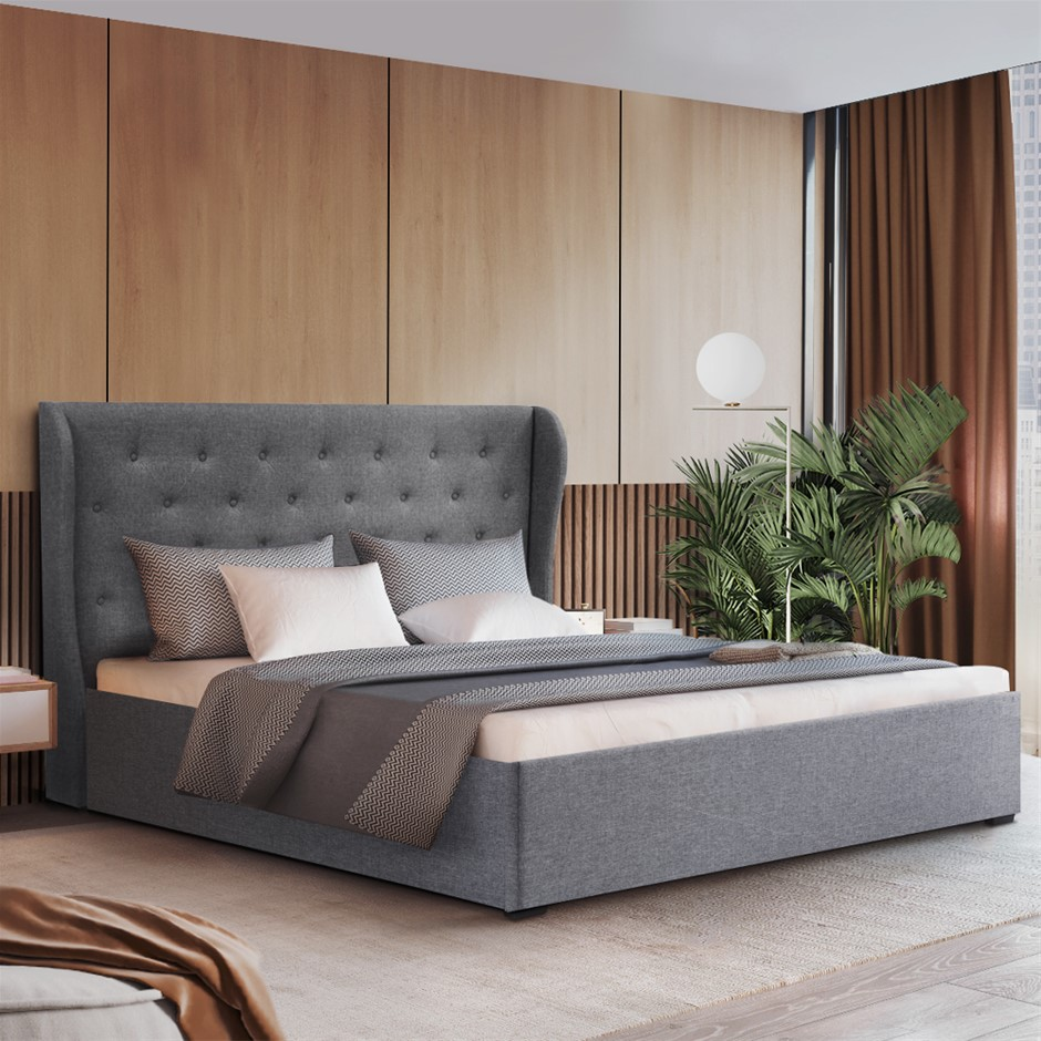 Artiss King Gas Lift Bed Frame Base With Storage Grey Fabric Wooden