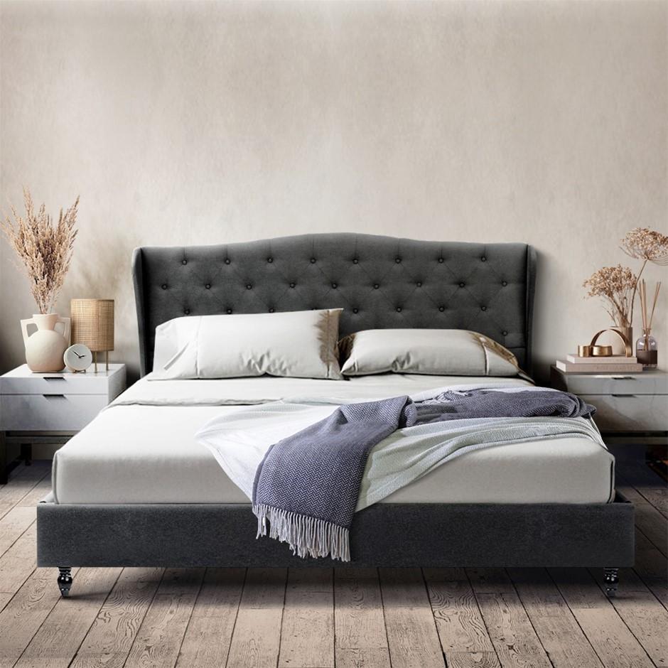 Artiss King Bed Frame Base Mattress Platform Fabric Wooden Charcoal PIER