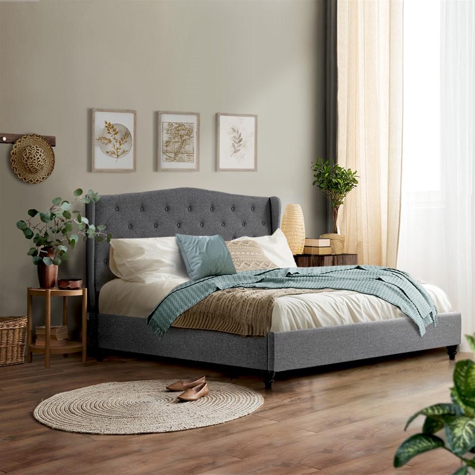 Artiss Queen Size Wooden Upholstered Bed Frame Headborad - Grey