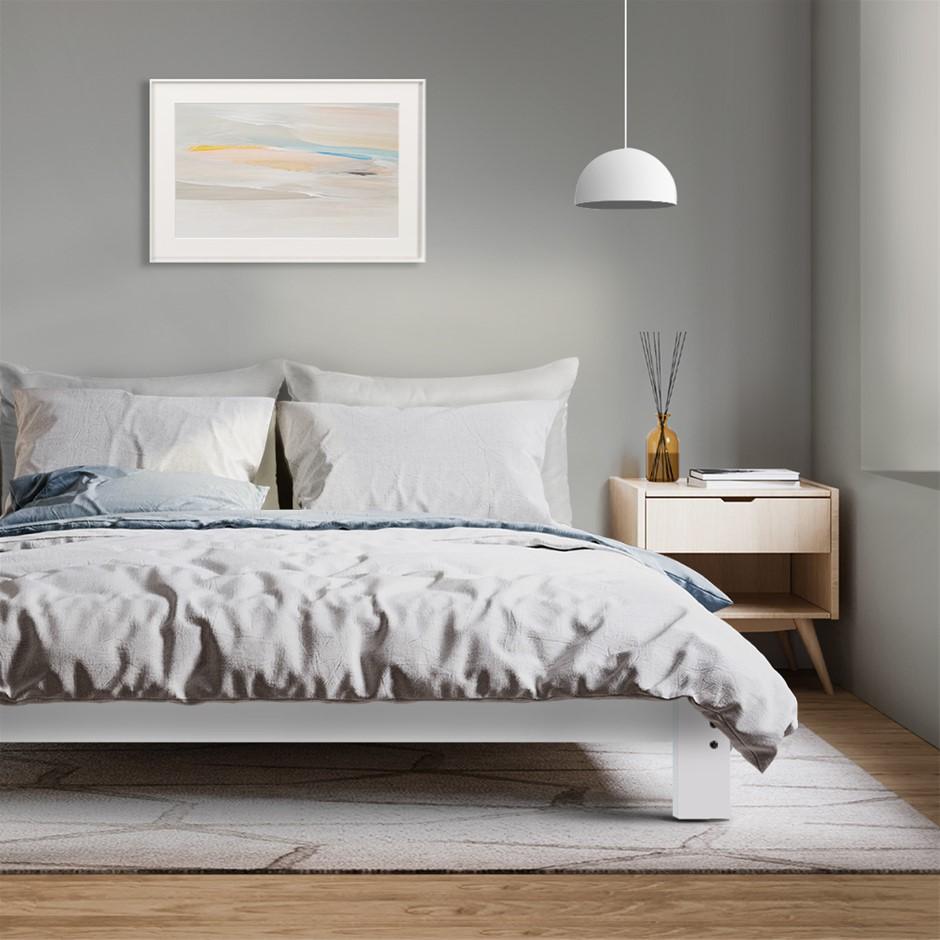 Artiss Double Wooden Bed Frame Base - White
