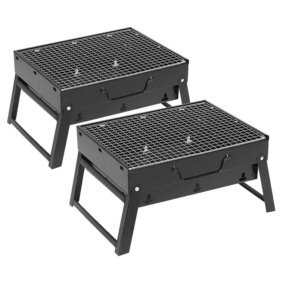 SOGA 2X 43cm Portable Folding Thick Box-type Grill for Outdoor BBQ