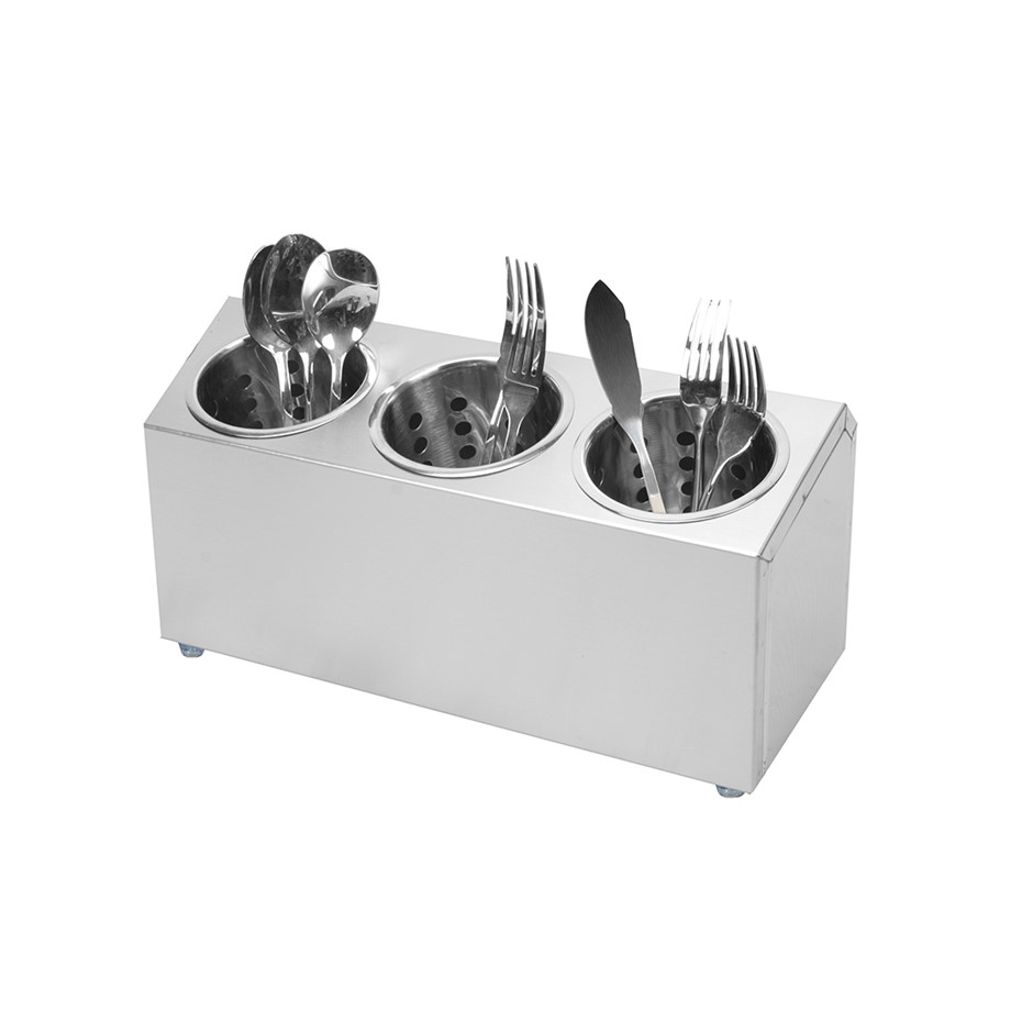 SOGA 18/10 S/S Commercial Conical Utensils Cutlery Holder w/ 3 Holes