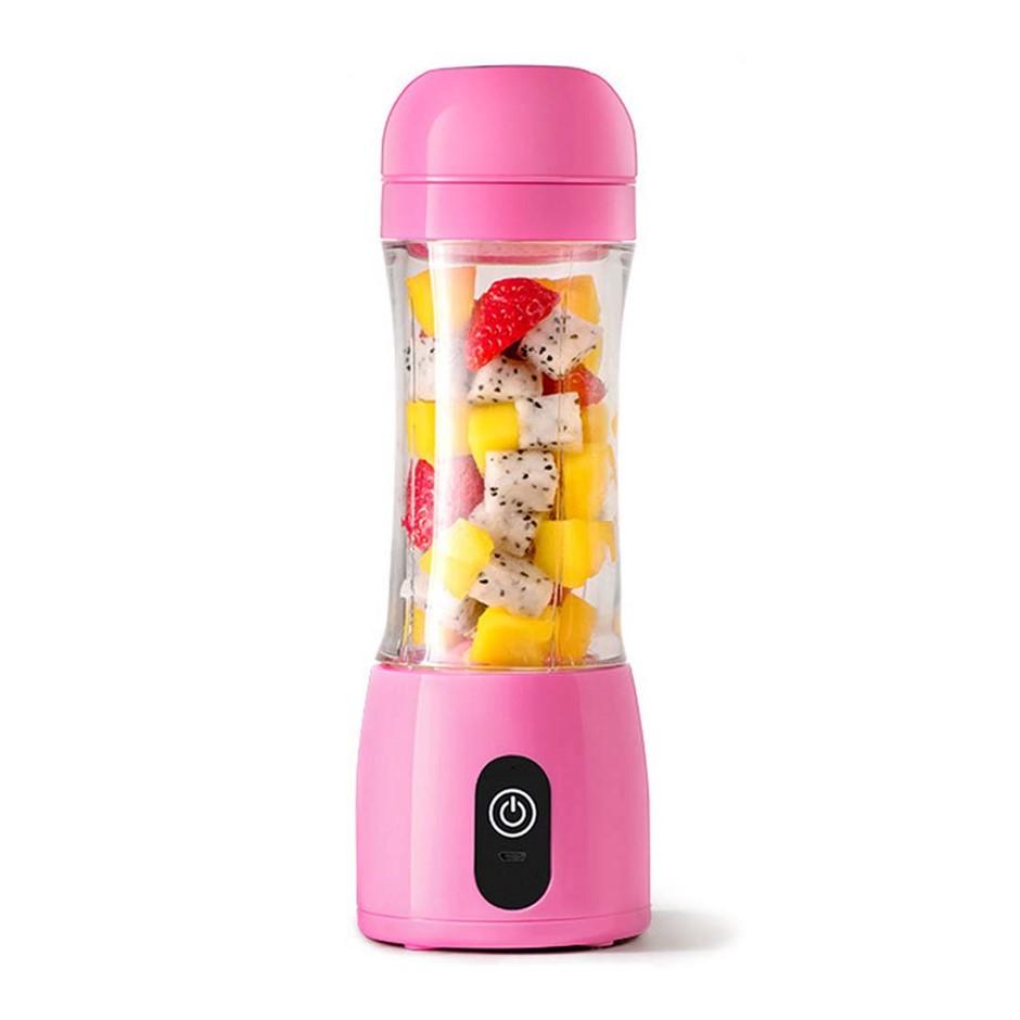 SOGA 380ml Portable Mini USB Rechargeable Handheld Fruit Mixer Juice Pink