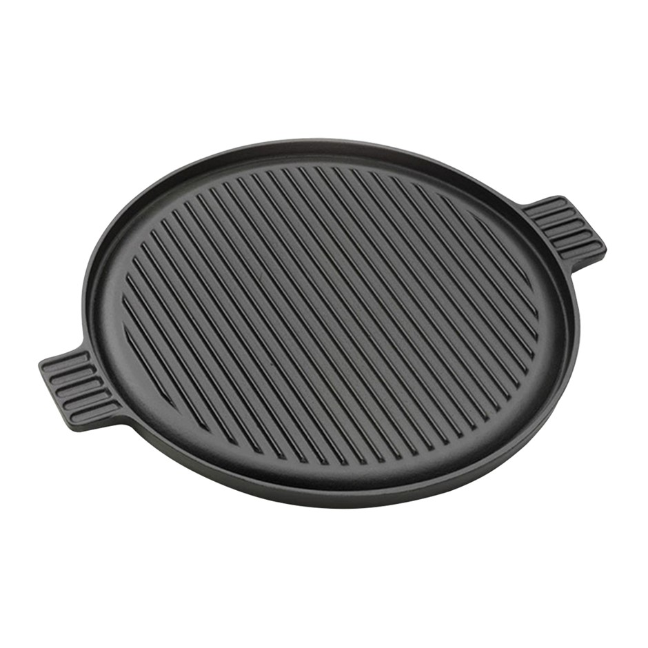 SOGA 43cm Round Ribbed Cast Iron Frying Pan Skillet Non-stick w/ Handle