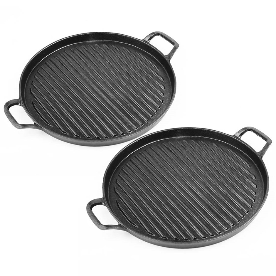 SOGA 2X 30cm Ribbed Cast Iron Frying Pan Skillet Non-stick Steak Sizzle