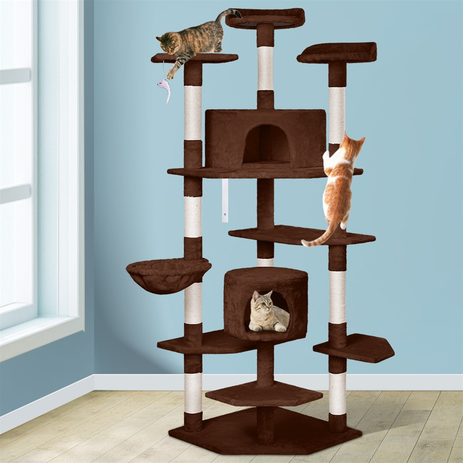 BEASTIE Cat Tree Scratching Post Scratcher Tower Condo Furniture Wood 202cm