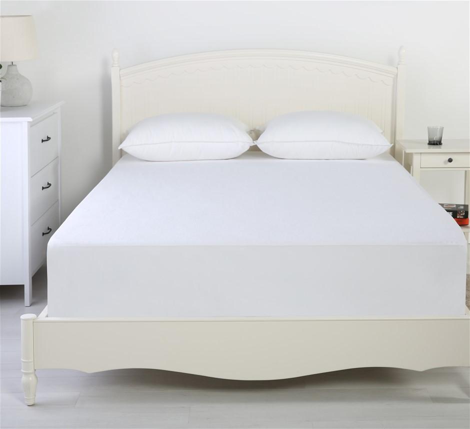 Dreamaker Reversible Cotton Waterproof Mattress Protector - Queen Bed