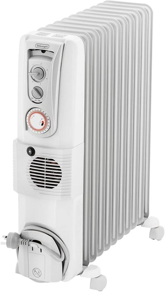 DE'LONGHI Portable Oil Column Heater, 2400W, White, Addional Fan to Boost H