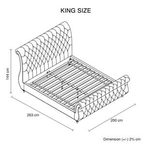 King Bed Frame Upholstery Velvet Fabric