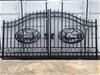 2021 Set of 2 Small Unused Wrought Iron Style Gates with Wildlife Scene