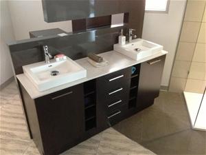 Double Bathroom Vanity 1800mm Quartz Stone Top Auction 0001
