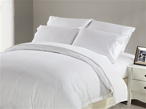 1200 TC Fitted Sheet King White Stripe