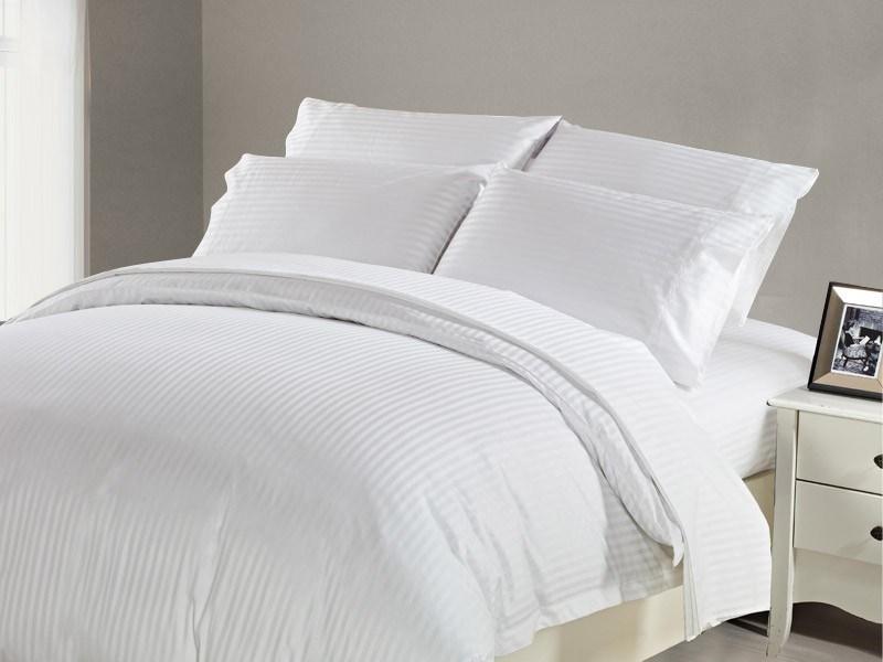 1200 TC Flat Sheet Queen White Stripe