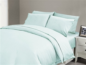 1200 TC Flat Sheet Single Duck Egg Blue