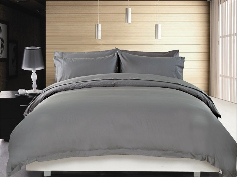 1200 TC Quilt Cover Set Single Charcoal
