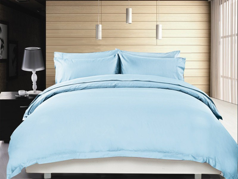 1200 TC Quilt Cover Set Single Sky Blue