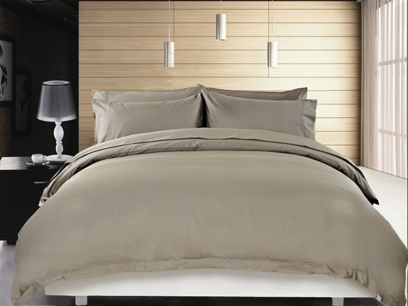 Buy Pure Egyptian Cotton Quilt Cover Set Double Size Taupe