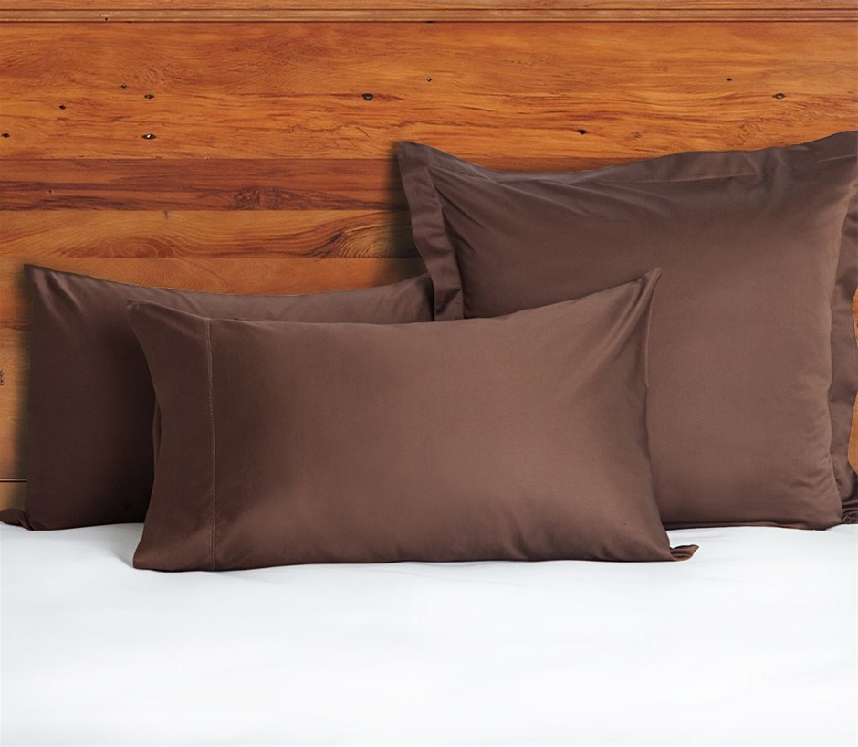 1200 TC European Pillow Cases Chocolate x 2