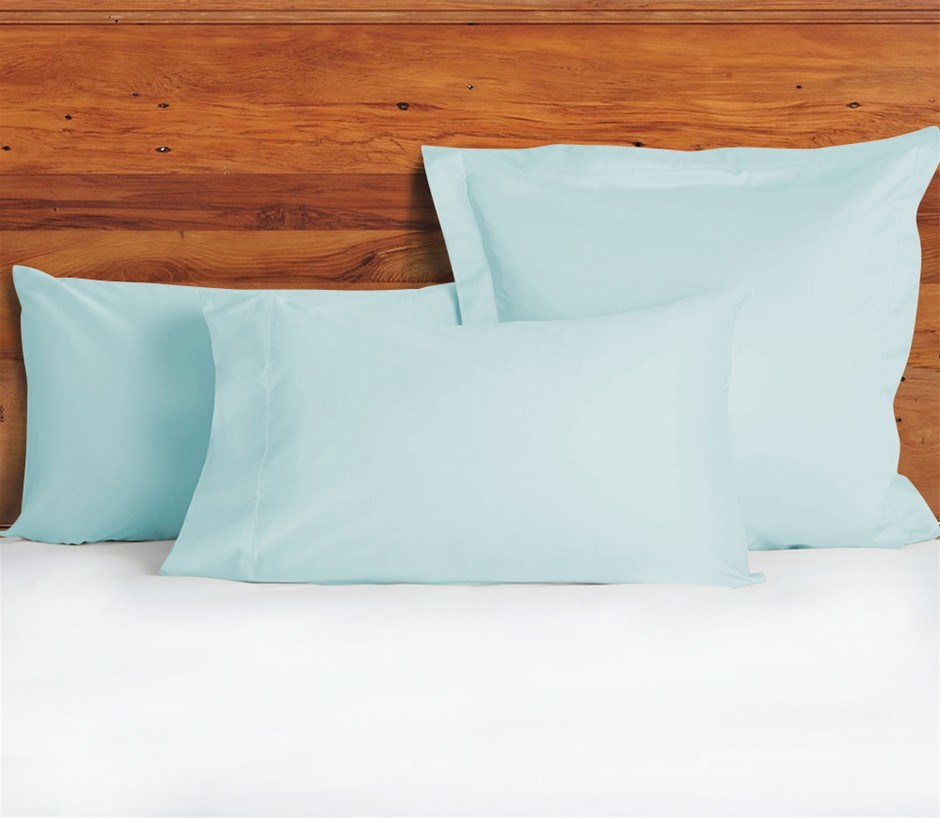 1200 TC Pillow Cases Duck Egg Blue x 2