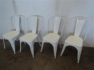 Qty 4 Tolix White Metal Dining Chairs