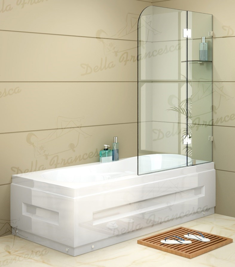 900x1450mm Frameless Bath Panel 10mm Glass Shower Screen By Della Francesca