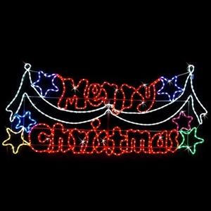 neon led merry christmas rope light display