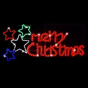 led merry christmas stars rope light display