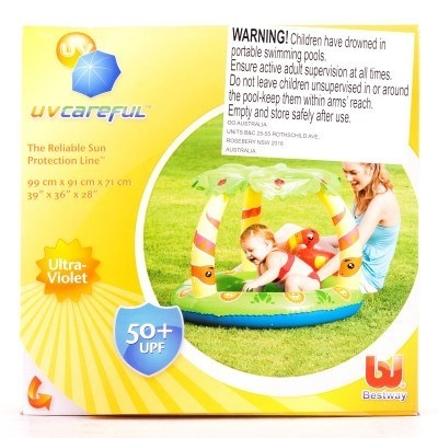 Kids Baby Toddler Small Inflatable Jungle Paddling Pool With Shade UV Safe 52179