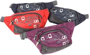 4 x Nylon Waist Zip Bags, Mixed Colours.