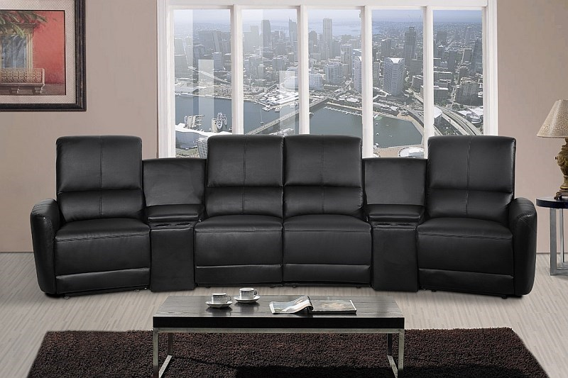 Oscar - 4 Seater Home Theatre Reclining Lounge, Black