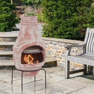 Rustic Clay Chiminea With Pizza Oven 75cm Height